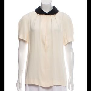 MARNI CREAM & BLACK ROUNDED COLLAR BLOUSE